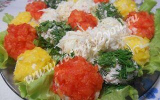 Закуска из кальмаров — разноцветные шарики