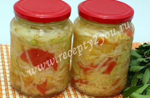 Салат из капусты помидоров и огурцов на зиму