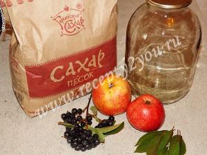 Компот из яблок и черноплодной рябины на зиму фото 1