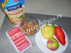 Салат с крабовыми палочками и болгарским перцем фото 1