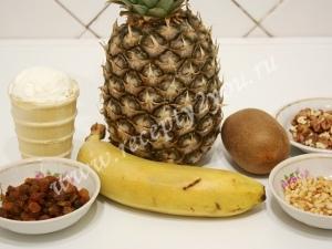 Фруктовый салат в ананасе фото ингредиентов