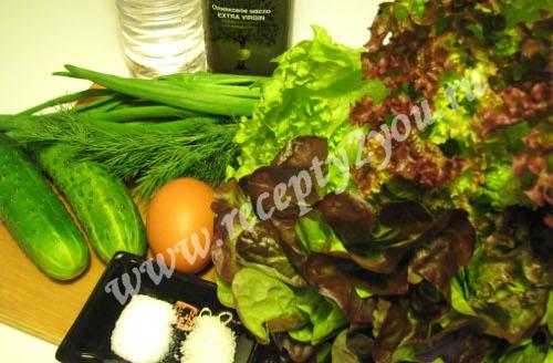 Салат из салатных листьев с огурцом фото 1