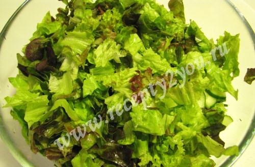 Салат из салатных листьев с огурцом фото 6